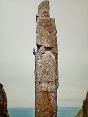 Climbers On The Totem Pole (blachswan) Tags: tasmania tasmansea totempole candlestick rock australia capehauy rockclimbing tasmanpeninsula climbing rockclimbers