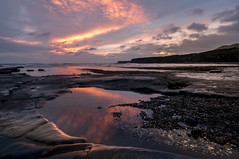 Beautiful South (Einir Wyn Leigh) Tags: sunset england dorset water beach winter ice colorful glow pool ocean sea seascape rocks reflection coast uk britain light holiday