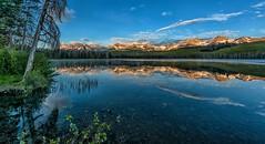 Morning Magic (Philip Kuntz) Tags: sunrise dawn daybreak reflections sunup firstlightonpeaks sawtooths sawtoothmountains littleredfishlake stanley idaho blue bluehour