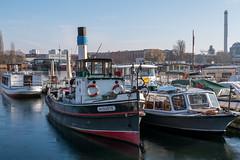 Berlin: Ein historischer Schleppdampfer und Boote aller Art an der Halbinsel Stralau - A historic tug and other boats moored at Stralau Peninsula (riesebusch) Tags: berlin friedrichshain stralau