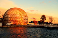 Winter at Ontario Place (wyliepoon) Tags: downtown toronto ontario place park amusement winter night sunset light lighting exhibition festival art installation lake sun set cinesphere imax theatre geodesic dome