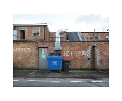 no parking (chrisinplymouth) Tags: wall bin wheelybin waste noparking plymouth devon england uk cw69x door sign airvent building brick urban aircon wb plymgrp city