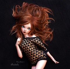 Arabella (pure_embers) Tags: pure embers laura england tan resin bjd msd doll dolls fairyland minifee chloe uk girl minifeechloe pureembers embersarabella arabella photography photo ball joint brown alpaca hair redribboneddolls youpla black gold fashion