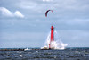 Danger Zone (Leslie Victor) Tags: mg6215 kiteboard lighthouse pier waves muskegon mi muskegonmi lakemichigan peremarquette sports