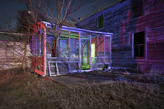 Abandoned Home II (Notley Hawkins) Tags: rural missouri notley notleyhawkins 10thavenue httpwwwnotleyhawkinscom missouriphotography notleyhawkinsphotography lightpainting bluelight greenlight blue green night nocturne 光绘 光繪 lichtmalerei pinturadeluz ライトペインティング प्रकाशपेंटिंग ציוראור اللوحةالضوء abandoned sky longexposure ruralphotography trees chartitoncountymissouri windows red redlight rgb outdoor serene architecture house riverbottoms missouririverbottoms home 2018 march facade