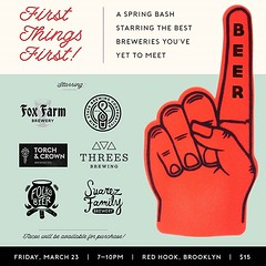 Tickets are on sale now for First Things First! A Spring Bash in Red Hook, Brooklyn together with the help of our friends @joshmbernstein @suarezfamilybrewery and @threesbrewing we welcome @torchcrownbeer @foxfarmbeer @fairstatecoop into NYC. *** March 23 (folksbier) Tags: tickets sale now for first things a spring bash red hook brooklyn together with help our friends joshmbernstein suarezfamilybrewery threesbrewing we welcome torchcrownbeer foxfarmbeer fairstatecoop nyc march 23rd from 710pm join us an intimate gathering some best brewers know only 15 ⬆ link bio