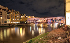 Ponte Vecchio - Firenze (Italy) (Andrea Moscato) Tags: andreamoscato italia toscana tuscany nuvole clouds sky cielo city città town ponte bridge fiume river arno reflection riflesso water acqua freshwater dark downtown darkness light luci shadow ombre view vivid vista yellow green grass history historic ancient buildings house architecture architettura arco art arte artist