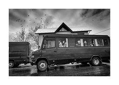 Bus stop (Jan Dobrovsky) Tags: carpathians countryside leicaq drama ukraine bus street people birds blackandwhite outdoor monochrome winter countrylife document