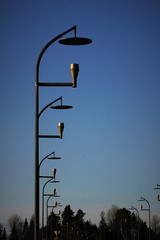 streetlight symmetry 2 (EllaH52) Tags: streetlights lampposts symmetry blue sky winter trees