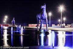 Horses - The Symbol of Power (Photonistan) Tags: streetlights sculpture jeddah corniche lights bluelights water d7100 nikon longexposure nightphotography nightshots fountains horses horse