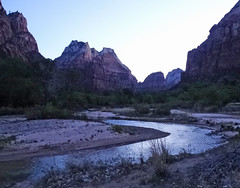Sunrise Prelude, Virgin River, Zion NP 4-14 (inkknife_2000 (9.5 million views)) Tags: zionnationalpark usa landscapes nationalparks redrockformations nature hiking utah utahnationalparks dgrahamphoto virginriver sunrise firstlight purpledawn