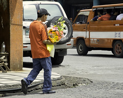 Flower Delivery (Beegee49) Tags: man delivery delivering carrying flowers street bacolod city philippines