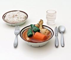 Kaiyodo Hokkaido Figure (MurderWithMirrors) Tags: kaiyodo hokkaido souvenir miniature food meal spoon bowl mwm fork knife glass rice curry chicken carrot pepper