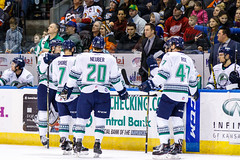 """Kansas City Mavericks vs. Florida Everblades, February 18, 2018, Silverstein Eye Centers Arena, Independence, Missouri.  Photo: © John Howe / Howe Creative Photography, all rights reserved 2018 • <a style=""""font-size:0.8em;"""" href=""""http://www.flickr.com/photos/134016632@N02/40387889851/"""" target=""""_blank"""">View on Flickr</a>"""