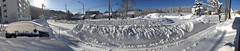 Panoramic Snowbank (sjrankin) Tags: 21february2018 edited snow snowbank weather road sidewalk sky clear car cars building panorama