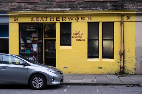 "Leatherwork, Edinburgh • <a style=""font-size:0.8em;"" href=""http://www.flickr.com/photos/22350928@N02/40541844301/"" target=""_blank"">View on Flickr</a>"