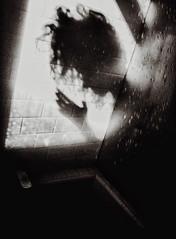 Ablution #5 (.Betina.) Tags: self shadow shadowplay reflection silhouette woman hand shower betinalaplante portrait portraiture dark monochrome mood mono moody monday blackandwhite
