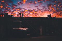 Fort Macon Sunset (ashercurri) Tags: fort macon nc north carolina coast ocean civil war sun set rise clouds golden hour sony nex 7 orange