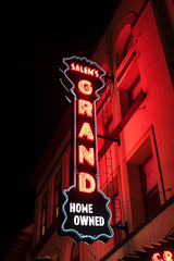 Salem's Grand (Curtis Gregory Perry) Tags: salem oregon neon sign grand theater theatre home owned signage red light night long exposure ioof nikon d810