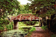 Delaware Canal - New Hope, PA (Jim DeFazio) Tags: newhope buckscounty pa pennsylvania pinkbridge woodenbridge delawarecanal canal walkway towpath scenic landscape brickpath historic pink green water waterway country countryside