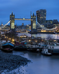 Low Tide Boats And Waters (JH Images.co.uk) Tags: london hdr dri night towerbridge bridge blue hour twilight low tide boats