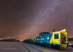 Tail end (Traylor Photography) Tags: alaska night winter train lightpainting portage caboose alaskarailroad stars milkyway anchorage unitedstates us