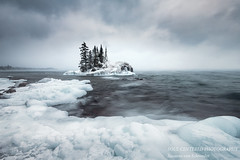 Snowstorm at the Tombolo (susannevonschroeder) Tags: lakesuperior clouds ice island landscape monochrome northshore snow waves winter minnesota