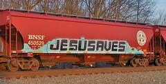 Jesusaves (Fan-T) Tags: jesusaves graffiti covered hopper freight car bnsf 450529