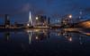 Puddeling, Rotterdam (reinaroundtheglobe) Tags: rotterdam zuidholland nederland holland netherlands puddle reflections skyline erasmusbrug bluehour longexposure
