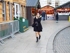 Belfast Christmas Market - December 2017 (sean and nina) Tags: nina serb belfast christmas market city hall december 2017 outdoor outside pavement walk way candid walking coat black dress dm doc martens boots hand bag camera glasses spectacles brunette brown eyes pink lips face stalls merchandise beauty beautiful gorgeous stunning charm charming woman female girl lady girlfriend fiancee wife happy married holiday cold day cute unposed