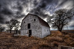 (CTfotomagik) Tags: abandoned weldcounty wideangle northerncolorado ruraldecay weathered barn agriculture vacant sky clouds hdr trees grass
