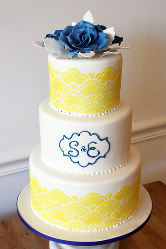 Yellow and Blue Stencil Wedding Cake