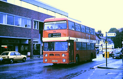 Slide 113-81 (Steve Guess) Tags: cardiff sharon coaches school bus weybrisge highstreet surrey england gb uk wuh585k 585 daimler fleetline mcw