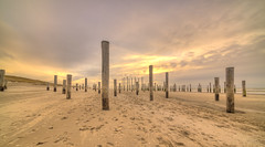 March of the Pillars. (Alex-de-Haas) Tags: 11mm adobe d850 dutch hdr holland irix lightroom nederland nederlands netherlands nikon noordholland noordzee northsea petten pettenaanzee photomatix photomatixpro beach beachscape exposure hemel landscape landschap longexposure lucht palen pillars poles sand sea skies sky steunpijler steunpijlers steunpilaar steunpilaren strand sundown sunset supportpillars wind winter zand zee zonsondergang