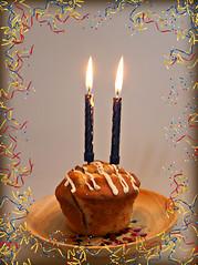 2018: Happy 2nd Birthday 7DWF! (dominotic) Tags: 2018 hbd7dwf crazytuesdaytheme 7dwf 2ndbirthday candles muffin food celebrate sydney australia