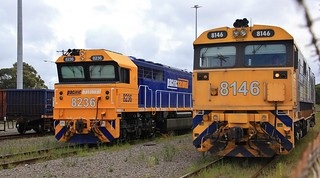 8146 rolls past 8236 to form 4124 mixed freight to Clyde Yard from Morandoo