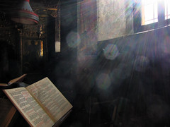 Rays & dust (jimiliop) Tags: light rays church books atmosphere lines lensflare dust window mystery diagonal text gold