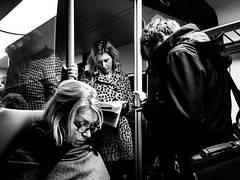 Living in your own bubble (Victor Borst) Tags: urban trip sub portrait goodlife thehague cityscape underground reallife street faces city urbanroots streetlife bw holland metro streetphotography urbanjungle mono blackandwhite travel candid subway thenetherlands face raw citylife real people realpeople travelling