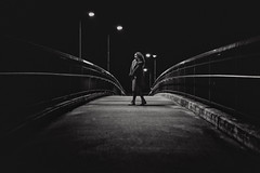 Keep The Streets Empty For Me (fehlfarben_bine) Tags: nikond800 sigmaart500mmf14 woman portrait bridge nightshot availablelight monochrome empty urban contrast darkness berlin