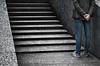 la vita è fatta a scale.... (pamo67) Tags: pamo67 scale stairs man uomo dispalle shoulders grigio grey fermo stationary still linee pasqualemozzillo