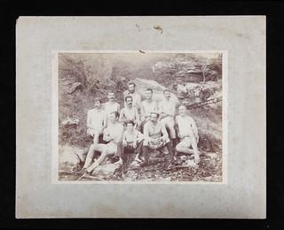 Sydney Rowing Club Eights crew in a bush setting, 1890s