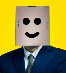 Happiness box (recyclable) (Simon BOISVINET) Tags: happiness box portrait cardboard smile recyclable recyclage