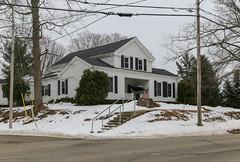 House — Jonesville, Michigan (Pythaglio) Tags: house dwelling residence historic jonesville michigan hillsdalecounty bracedframe 15story greekrevival tripartite insetporch recessedporch vinylsiding windows