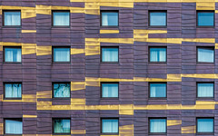 Gold Strips (DobingDesign) Tags: hotel windows storeys london novotel pattern chaos random gold cladding abstractpattern stripes goldstrip architecture architecturaldetail lines geometric stripey randompattern window metallic metal building floors colourful