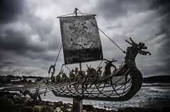 Theres Something Fishy About These Vikings! (daedmike) Tags: viking fish scotland stonehaven grampian beach coast sea seaside sculpture invaders metalwork art welding boat dragon hammerhead ship sail humour