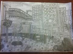 """Movie-a-City"" (al-worthy) Tags: media city salford hollywood surrealism sketch lights camera action tv studio"