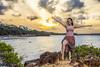 Sunset in Pirangi Beach (Joseane Schmidt) (rqserra) Tags: entardecer pordosol praia menina mulher garota mar costa nuvens agua sunset beach girl woman pretty clouds water rqserra pirangi brazil