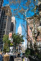 Empire State Building (MikePScott) Tags: buildings builtenvironment camera empirestatebuilding featureslandmarks madisonsquare newyork newyorkcity nikon28300mmf3556 nikond800 sky skyscraper taxi transport trees usa