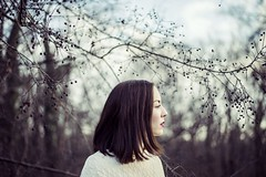 Niki, January 2016 (esztervaly) Tags: portrait portraitphotography portraitwoman portraiture portraits woman womanportrait afternoon afternoonlights bokeh bokehbackground leafs leaves nature natural naturallight face people tree winter forest branches portraitmood