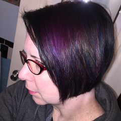 Fancy, shiny new hair cut (thischarmingamy) Tags: multicolorhair rainbowhair bluehair purplehair blackhair andovermassachusetts canvassalon shorthair
